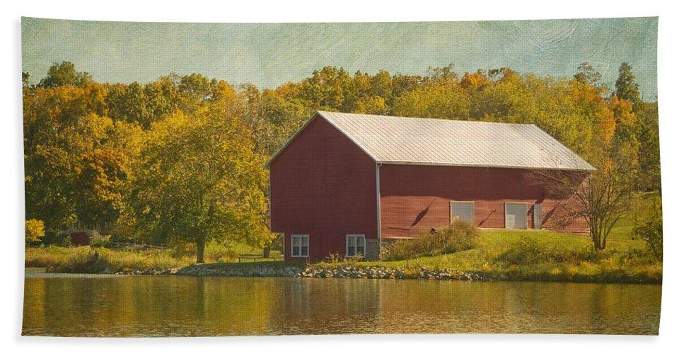 Barn Bath Sheet featuring the photograph The Red Barn by Kim Hojnacki