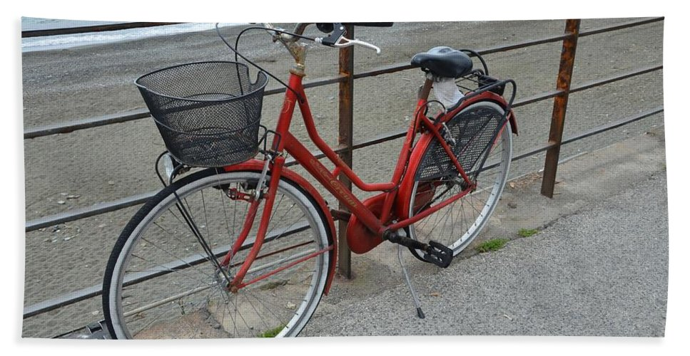 Activity Bath Sheet featuring the photograph The Red Bicycle by Dany Lison