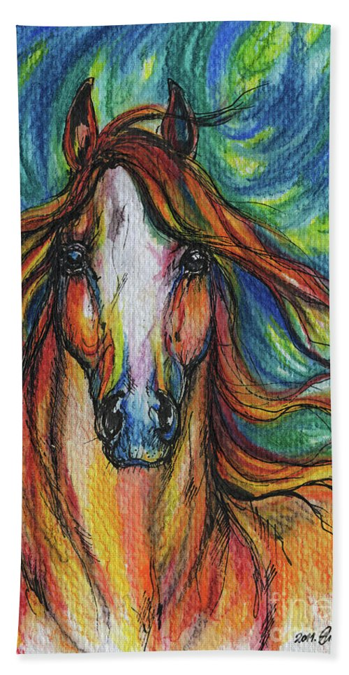 Psychodelic Bath Towel featuring the painting The Red Horse by Angel Ciesniarska