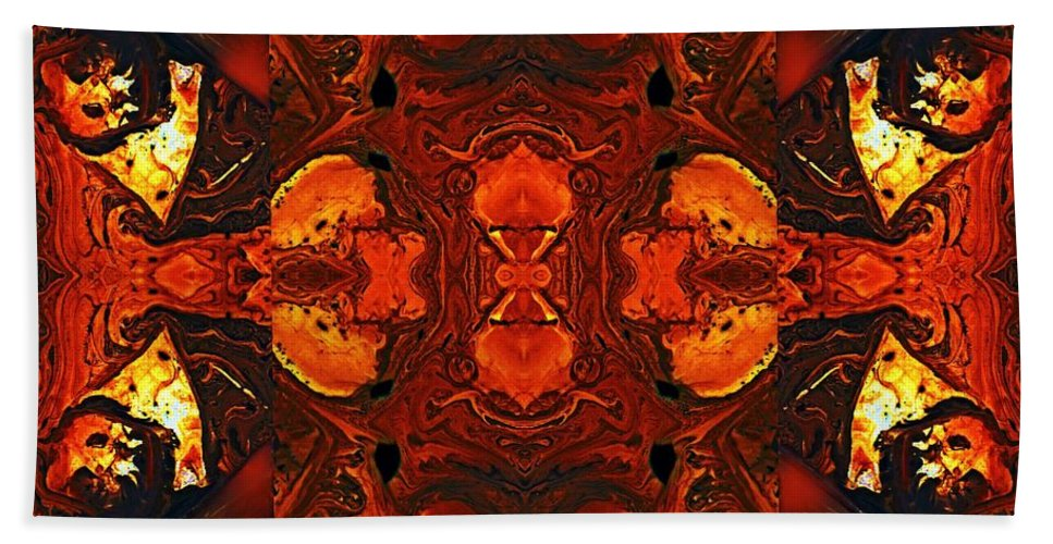 Red Painting Hand Towel featuring the digital art The Red Light by Wolfgang Schweizer