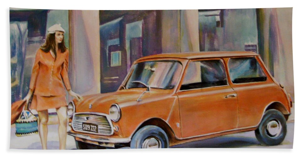 Mini Car Sixties Fashion Woman Painting Bath Sheet featuring the painting The Red Mini by Andy Lloyd