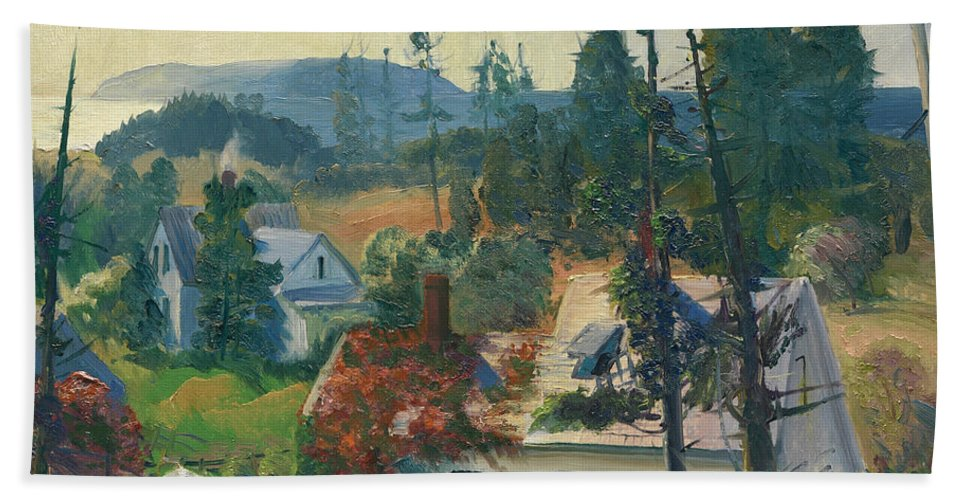 George Bellows Hand Towel featuring the painting The Red Vine. Matinicus Island. Maine by George Bellows