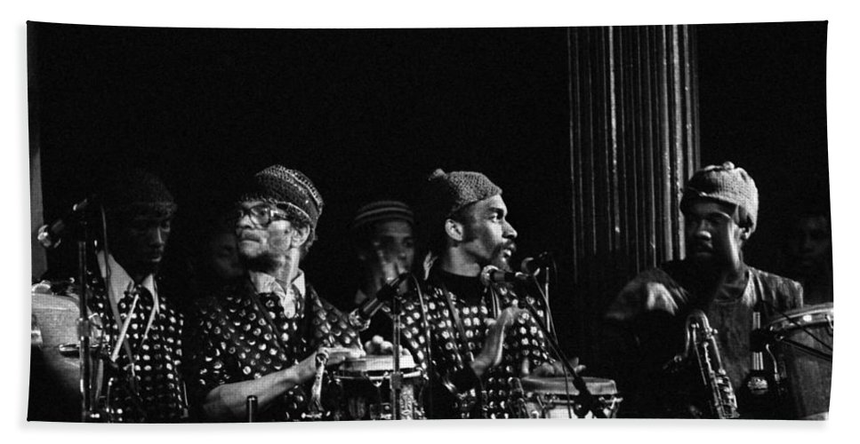 Sun Ra Arkestra Bath Sheet featuring the photograph The Reed Section 2 by Lee Santa