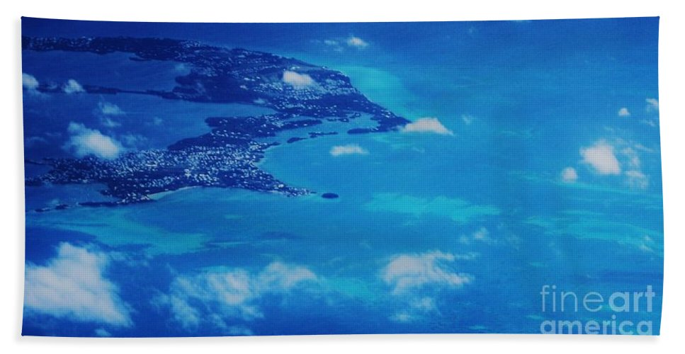 Aerial Art Bermuda The Reefs Island Life Travel Turquoise Water Atlantic Ocean Beauty Little Clouds Serenity Feng Shui Natural Beauty Half A Country Adventure Color Blue Tranquil Canvas Print Metal Frame Poster Print Available On T Shirts Pouches Tote Bags Shower Curtains Mugs Beach Towels Weekender Tote Bags And Phone Cases Bath Towel featuring the photograph Bermuda Blue, Aerial by Marcus Dagan