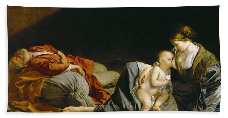 Orazio Gentileschi Bath Sheet featuring the painting The Rest On The Flight Into Egypt by Orazio Gentileschi