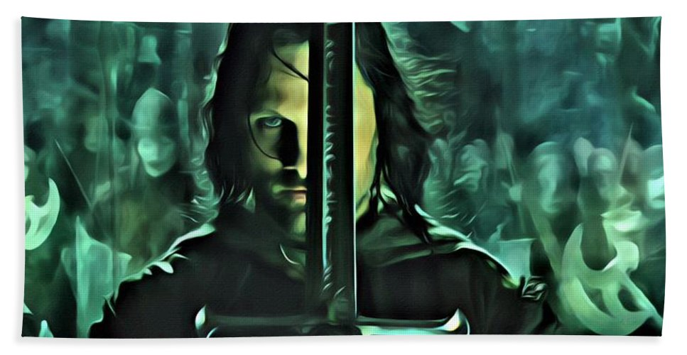 Aragorn Bath Sheet featuring the painting The Return Of The King by Florian Rodarte