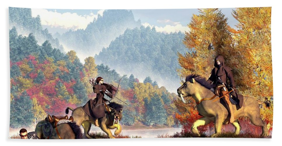 Fantasy Novel Krazar Riders Sabertooth Smilodon Bath Towel featuring the digital art The Riders Of The Krazar by Daniel Eskridge