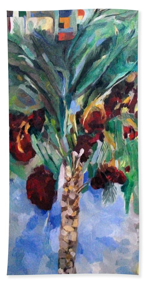 Hand Towel featuring the painting The Righteous Will Flourish Like The Date Palm Tree by David Baruch Wolk