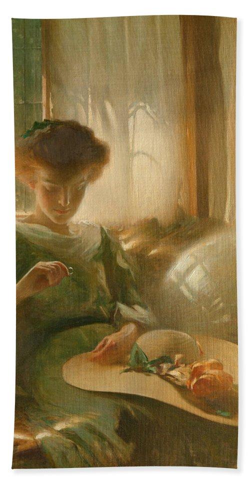 John White Alexander Bath Sheet featuring the painting The Ring by John White Alexander