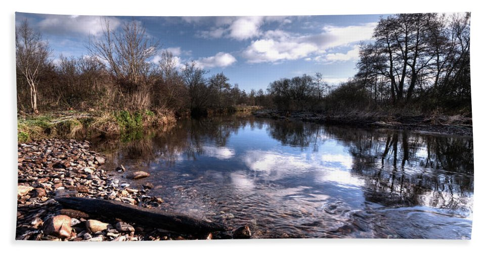 River Hand Towel featuring the photograph The River Culm At Five Fords by Rob Hawkins