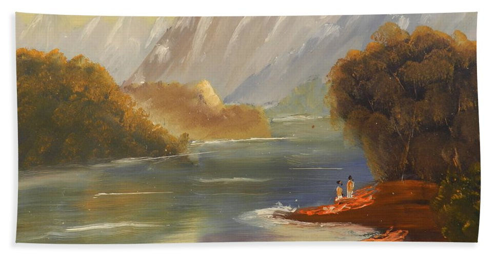 Impressionism Bath Sheet featuring the painting The River Flowing From A High Mountain by Pamela Meredith