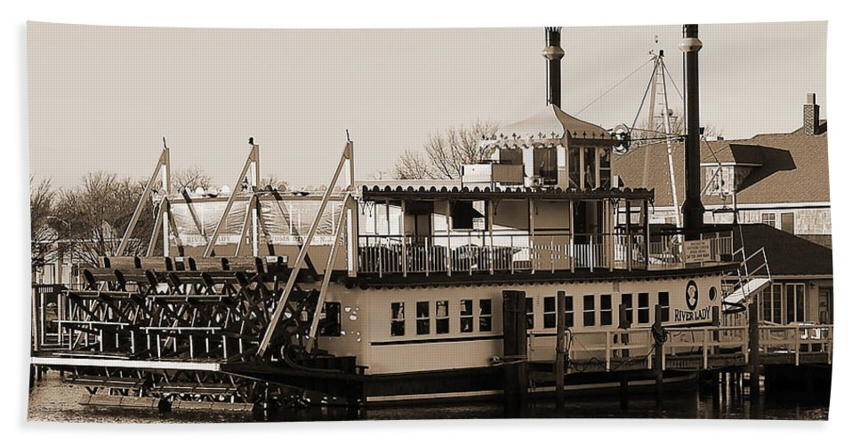 The River Lady Toms River New Jersey Bath Sheet featuring the photograph The River Lady Toms River New Jersey by Terry DeLuco