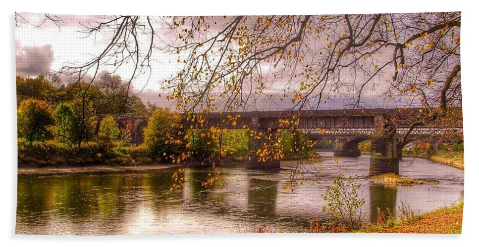 The Riverside Bath Sheet featuring the photograph The Riverside At Avenham Park by Joan-Violet Stretch