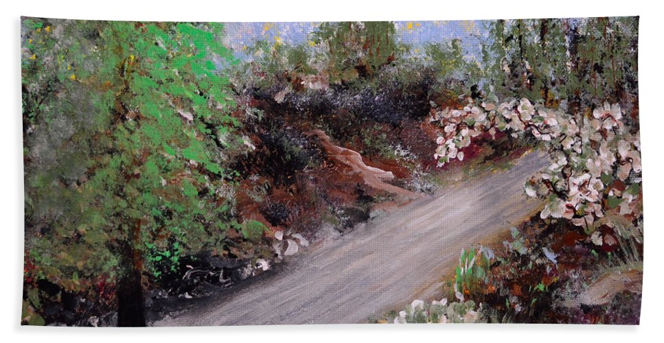 Featured Art Bath Sheet featuring the painting The Road by Alys Caviness-Gober