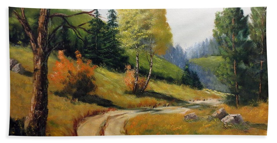 Lee Piper Hand Towel featuring the painting The Road Not Taken by Lee Piper