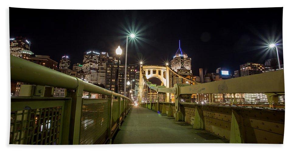 Pittsburgh Skyline Bridge Night Yellow Pirates Steelers River Pennsylvania Urban Pa. Jimmy Taaffe Bath Sheet featuring the photograph The Roberto Clemente Bridge by Jimmy Taaffe