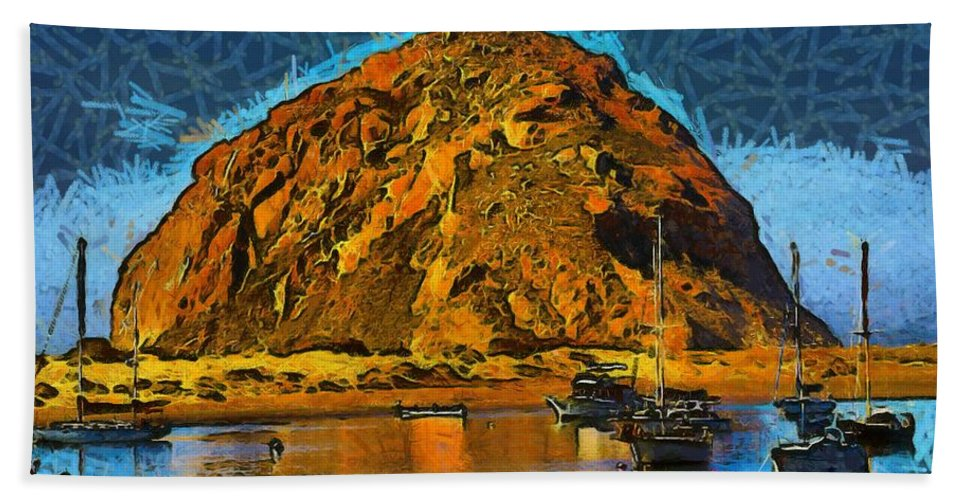 Barbara Snyder Hand Towel featuring the photograph The Rock At Morro Bay Abstract by Barbara Snyder