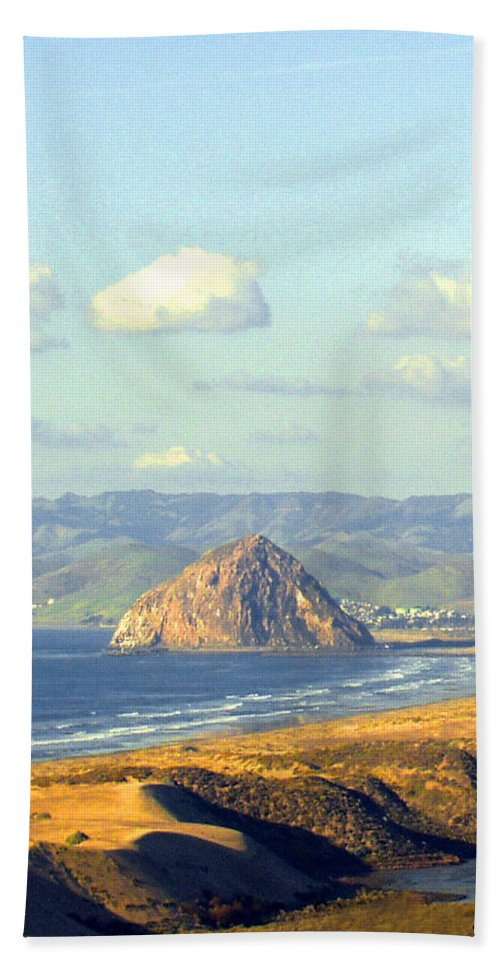 The Rock At Morro Bay Hand Towel featuring the photograph The Rock At Morro Bay by Barbara Snyder