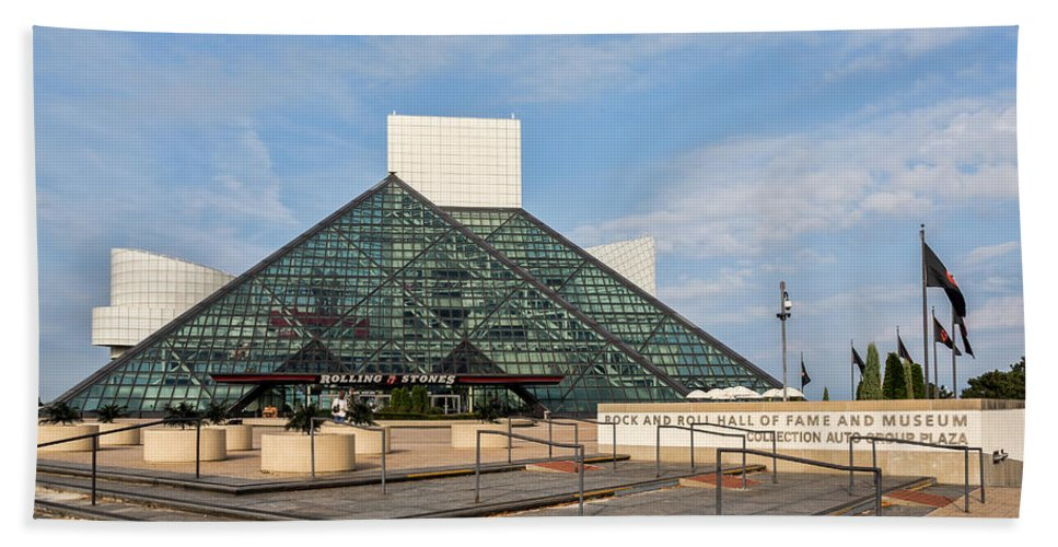 Rock And Roll Hall Of Fame Bath Sheet featuring the photograph The Rock Hall by Dale Kincaid