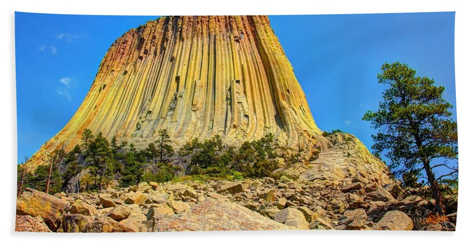 Devils Tower Bath Sheet featuring the photograph The Rock Shop by Anthony Wilkening