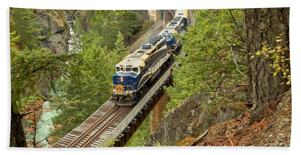 Rocky Mountaineer Hand Towel featuring the photograph The Rocky Mountaineer Train by Adam Jewell