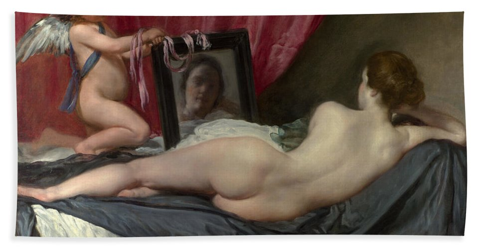 Diego Velazquez Hand Towel featuring the painting The Rokeby Venus by Diego Velazquez