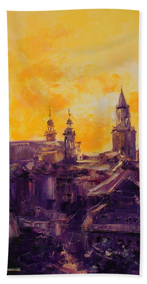 Lublin Bath Sheet featuring the painting The Roofs Of Lublin by Luke Karcz