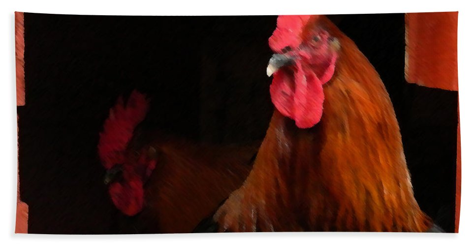 Cochin Hand Towel featuring the painting the Roosters by George Pedro