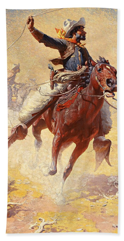 William Robinson Leigh Hand Towel featuring the painting The Roping by William Robinson Leigh