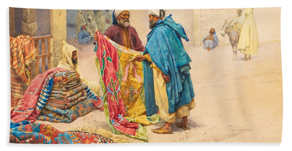 Giulio Rosati Bath Sheet featuring the painting The Rug Merchant by Giulio Rosati