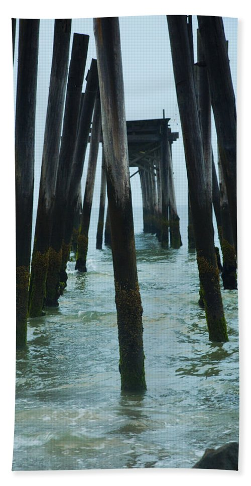 Ruins Hand Towel featuring the photograph The Ruins Of The 59th Street Pier by Bill Cannon