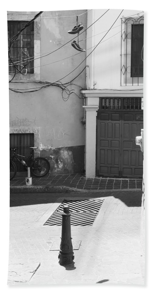 Street Photography Bath Sheet featuring the photograph The Runner by The Artist Project