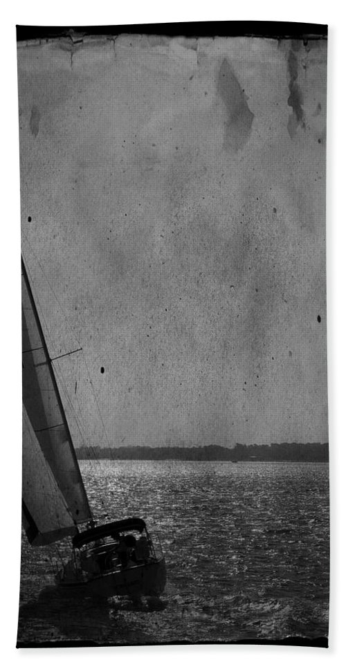 Boat Sailboat Sail Sea Ocean Water Sky Wind Breeze Outdoors Day Escape Vacation Tourism Travel Getaway Recreation Black And White Tall Tranquil Harbor Usa Bath Sheet featuring the photograph The Sailboat by Bob Pardue
