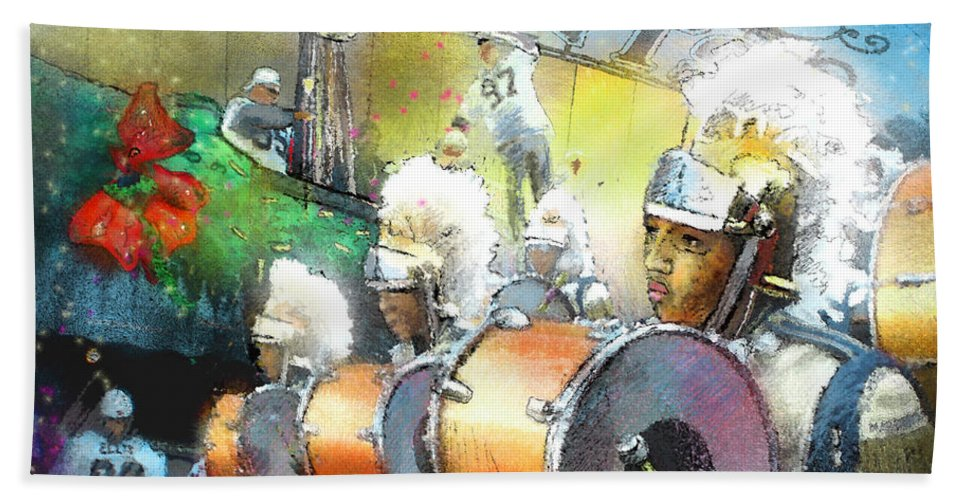 New Orleans Bath Sheet featuring the painting The Saints Parade In New Orleans 2010 01 by Miki De Goodaboom