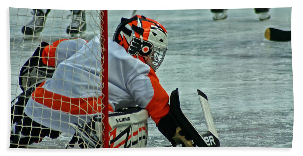 Hockey Hand Towel featuring the photograph The Save by David Rucker