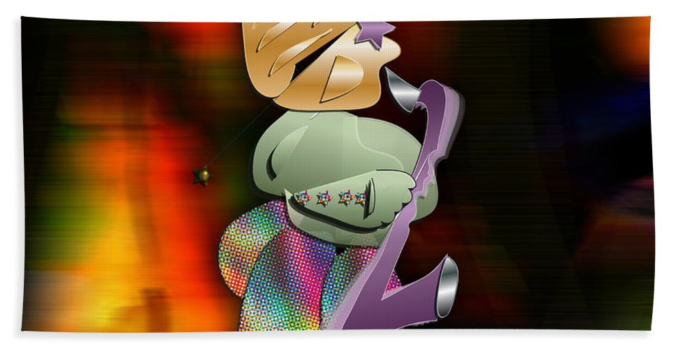 Saxophone Player Digital Art Hand Towel featuring the mixed media The Sax Man by Marvin Blaine