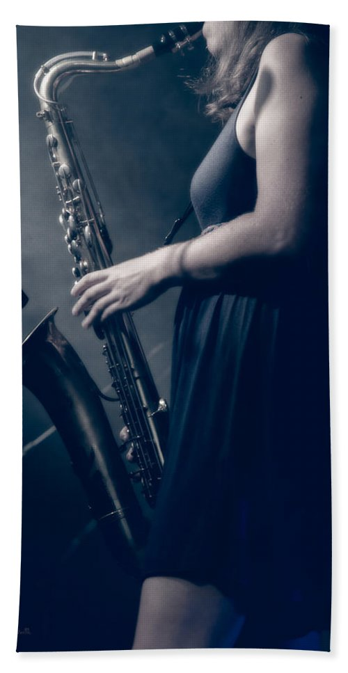 Sax Bath Sheet featuring the photograph The Saxophonist Sounds In The Night by Bob Orsillo