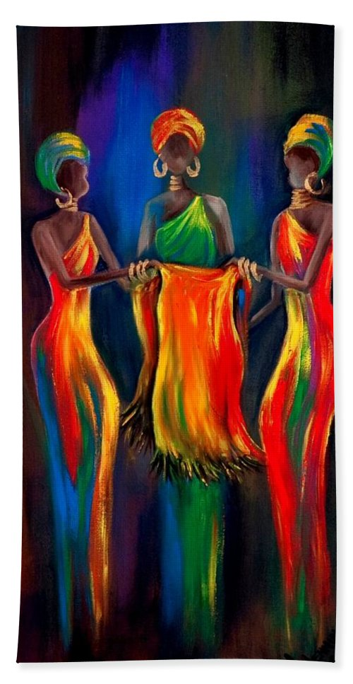 African Women Bath Sheet featuring the painting The Scarf by Marietjie Henning