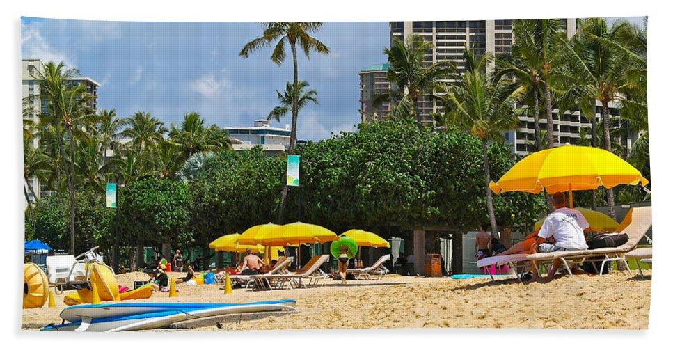 Waikiki Bath Sheet featuring the photograph The Scene At Waikiki Beach by Michele Myers