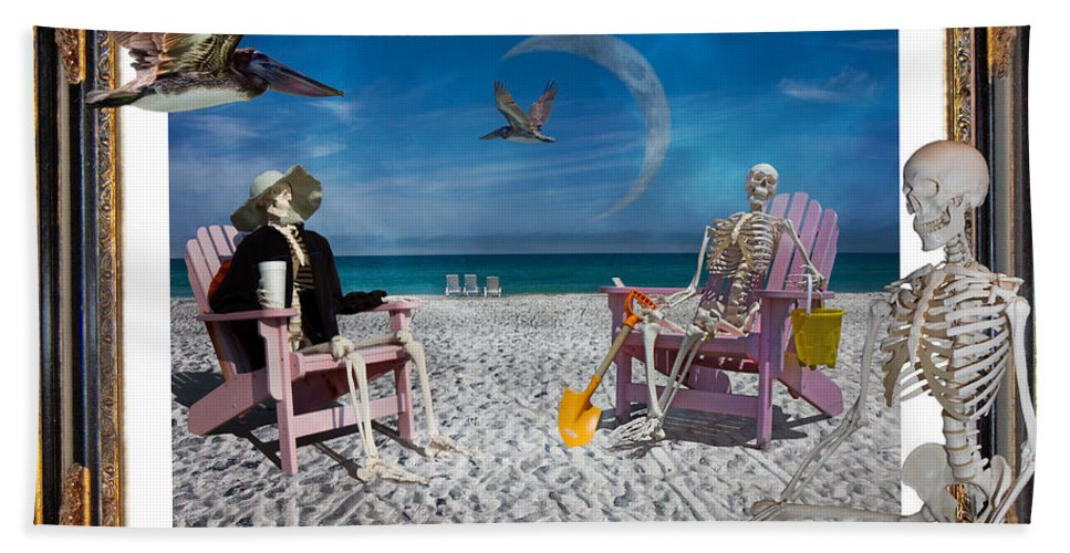 Doctor's Hand Towel featuring the digital art The Scientist's Vacation by Betsy Knapp