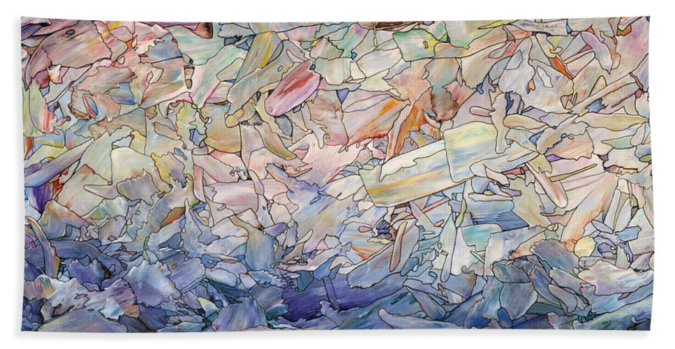 Sea Hand Towel featuring the painting Fragmented Sea by James W Johnson