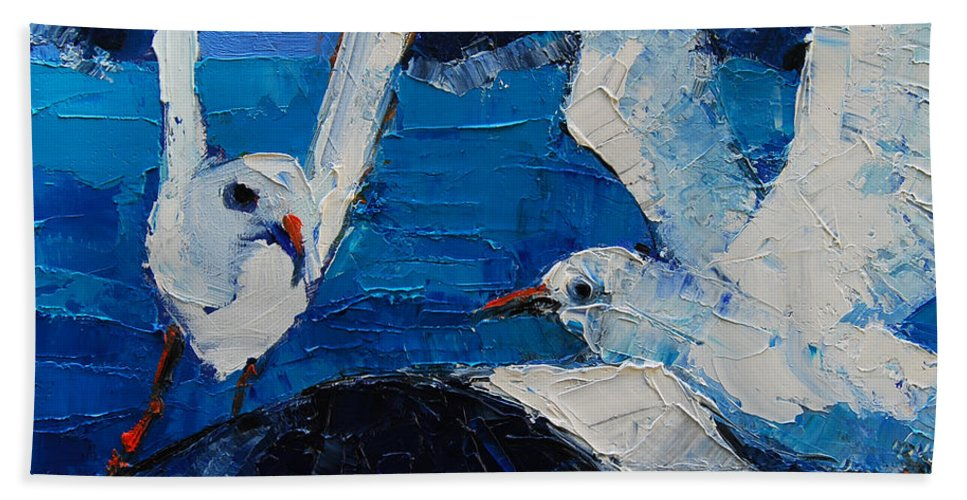 The Seagulls Bath Towel featuring the painting The Seagulls by Mona Edulesco