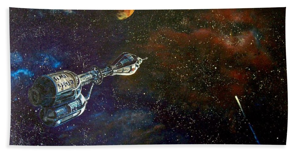 Vista Horizon Bath Towel featuring the painting The Search for Earth by Murphy Elliott