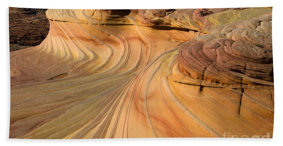 The Second Wave Bath Sheet featuring the photograph Written In Stone by Bob Christopher