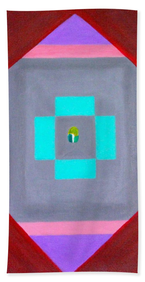 Abstract Hand Towel featuring the painting The Seed by Lorna Maza