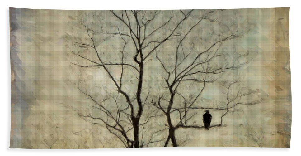 Black Vulture Hand Towel featuring the photograph The Sentinel by Kerri Farley