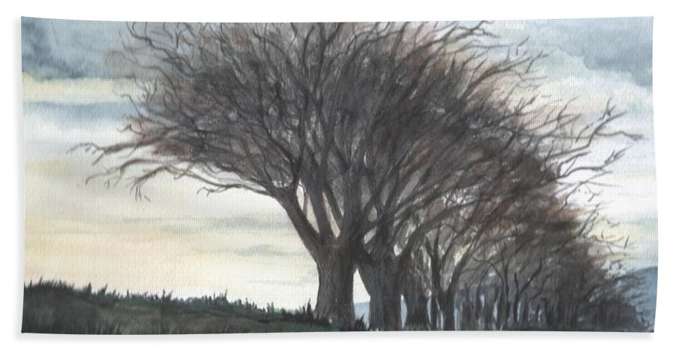 Watercolor Hand Towel featuring the painting The Sentinels by Brenda Owen