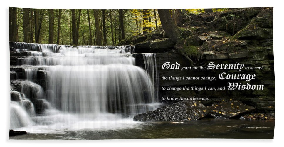 The Serenity Prayer Hand Towel featuring the photograph The Serenity Prayer by Christina Rollo