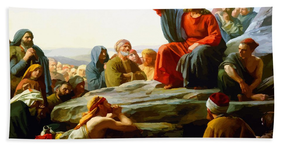 Retouched Bath Sheet featuring the digital art The Sermon On The Mount by Don Kuing