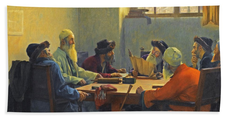 Theodoros Rallis Bath Sheet featuring the painting The Seven Rabbis In Jerusalem by Theodoros Rallis
